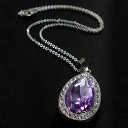 Wholesale Purple Amulet Necklace - Wholesale- 2017 Retail 1PC Sofia Amulet Purple Pink Water Drop Chain Necklace for Kids Girls Dress Up Jewelry