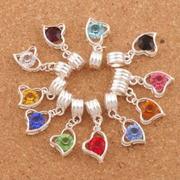 Wholesale Cube Day - Silver Plated Bail Crystal Heart Charm Bead Big Hole Beads 20pcs lot 11Colors 32X12mm Fit European Metals Bracelets B1747