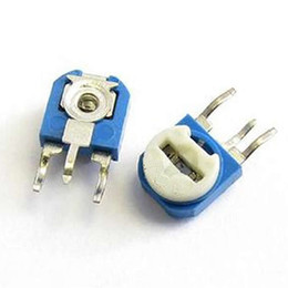 Wholesale Can Trims - Wholesale- 50PCS RM063-101 vertical 100 ohm (blue white) blue and white can be adjusted resistance   potentiometer WH06-1