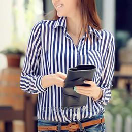 Wholesale Sexy Chiffon Stripe - Women's Sexy Slim Vintage Stripe Chiffon Shirt Long Sleeve OL Casual Tops Blouse Shirts