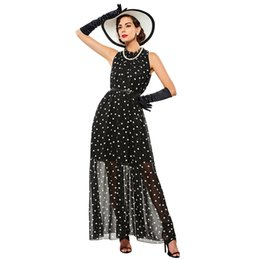 Wholesale Summer Dresses Women Wholesale - Women Maxi Fashion polka dots Maxi dress long Casual Summer Beach Chiffon Party Dresses style cheap vestidos de festa