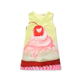 Wholesale Ice Cream Print Dress - Girls Strawberry ice cream printing dress kids cute sweet printed sleeveless sundress summer outfits for 2-6T