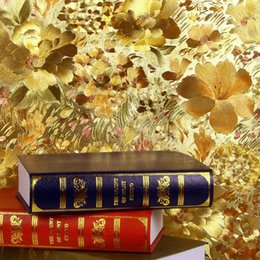 Wholesale Living Room Gold Wallpaper - Wholesale- Floral gold foil wallpaper gold embossed feature background wall wallpaper for living room papel de parede 3d mural wall paper