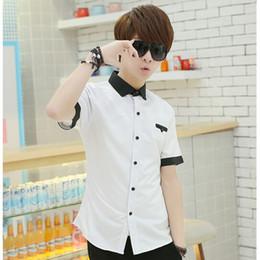 Wholesale Men Slim Shirts China - Wholesale- T 2016 summer new Korean version men fashion casual pure color slim short sleeve shirt china Cheap wholesale