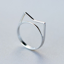 Wholesale Open Ring Cat - 5pcs lot Real Pure 925 Sterling Silver Ring Fashion Lovely Cat Ring Women Statement Jewelry Gift Finger Open Rings Anillo Anel De