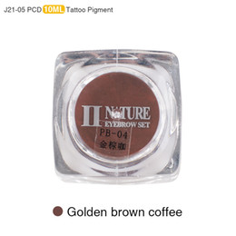 Wholesale Professional Coffee - Wholesale-PCD Permanent Makeup Ink Eyebrow Tattoo Ink Set Lip Microblading Pigment Professional Encre A Levre 10ML J21 Golden Brown Coffee