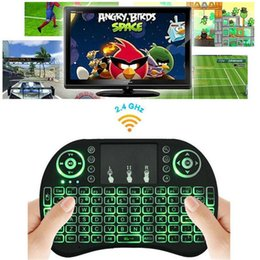 Wholesale Laptop Remote Control Keyboard - Rii I8 Fly Air Mouse Mini Wireless Handheld Keyboard Backlight 2.4GHz Touchpad Remote Control For X96 S905X S912 TV BOX Mini PC OTH208