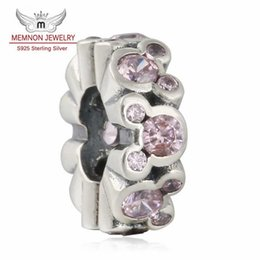 Wholesale Sterling Silver Beads Spacers - Memnon Jewelry Pink CZ Mickey All Around 925 sterling silver Spacers Beads charms For DIY Jewelry Making Fit charm bead Bracelet DSN075