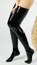 Wholesale Sexy Stocking Leg - 2017 Leg Wear & Stockings Women Sexy Cludwear Black Latex Stockings Faux Leather Wet Look Vinyl Fetish Stocking