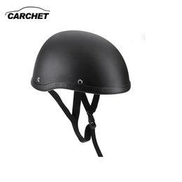Wholesale Helmet Motorcycle Matte Black - Wholesale- Motorcycle Helmets Half Helmet 54-60cm Unisex Protection Helmet Black Capacete Half Shell Helm Matte Retro Racer Motocross