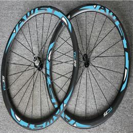 Wholesale Oem Road Bike Wheels - WAST blue decal full carbon bike wheels V brake taiwan carbon wheels 38mm tubular wheels OEM logo carbon frame free shipping