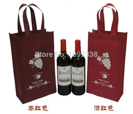 Wholesale Reusable Bags Logo - Wholesale- Wholesale reusable non woven shopping bags promotional wine bottle bags with customized logo 1000pcs lot Free Shipping By Fedex