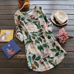 Wholesale Chinese Casual Summer Dresses - 2017 women's fashion flower printed dress O-neck Chinese old style retro dresses long sleeve cotton and linen loose dress