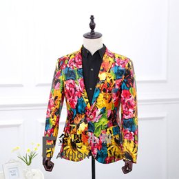 Wholesale Looking Men Suit - Brand New 2016 Mulitcolor Printing Long Sleeves British Look Suits Night club Performance Suit Costumes