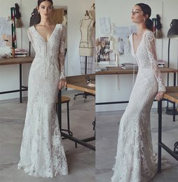 Wholesale Long Sleeved Black Lace Gown - long sleeved vintage lace wedding dresses 2017 simple sheath v-neck lace-up neckline sweep train bridal gowns