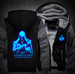 Wholesale Luminous Buttons - Wholesale- New Thicken Fleece Hoodie Unisex Luminous Coat Zipper Jacket Assassin Creed Top Clothing MEN WOMEN