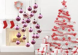 Rosa decorado arbol de navidad online-4 cm Decoraciones navideñas de colores bolas de Navidad decoradas para el árbol de Navidad de plástico 3 estilos mezclan un barril Suministros festivos fiesta