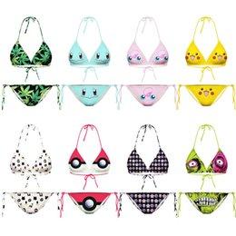 Wholesale Pokemon Animals - Fashion Womens Girls Swimwear Beach Bikinis Sets Pikachu Emojis Poke Pokeball PokéMon Go Swimsuits Pocket Monster Print Poke Bikini Suits