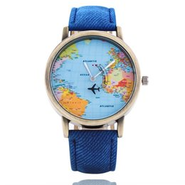 Wholesale Leather Dresses Wholesale - Wristwatches Fashion Men's And Women's Watches Leather Quartz Watch Aeroplane Map Watch Personality Casual Fashion Dress Watch Relogio W0078