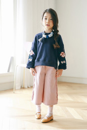 Wholesale Flower Girl Tee - girls autumn long shirt Tshirt flower emboridery fashion kids cotton tops tee clothing BC1705