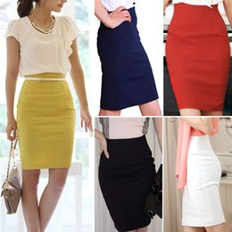 Wholesale Ladies Formal Pencil Skirts - Pencil Skirts Womens High Waist Slim Over Hips Formal Saias Feminino Lady Classic Knee-Length Office Skirts faldas mujer