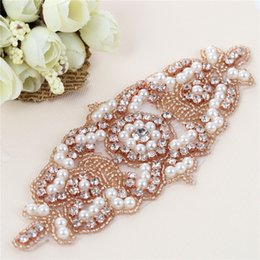 Wholesale Diamante Bridal Sashes - Handmade Sew Iron On Diamante Clear Beaded Crystal Rhinestone Applique Patch for Wedding Dresses DIY Bridal Sash Garters