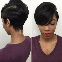 Wholesale brazilian short wigs - Malaysian short lace hair wigs Brazilian Human Hair Wigs cheap pixie cut lace wig short cut lace front wigs for black Women
