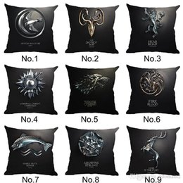 Wholesale Pillowcase Chair Covers - Game of Thrones Cushion Cover Cotton Linen Chair Seat Decorative Pillowcase 45x45cm Square Pillow Cover Home Living Textile