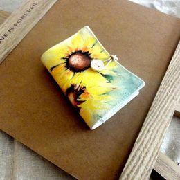 Wholesale Sunflower Wedding Supplies Wholesale - Vintage Sunflower Design ID Card Position Canvas Card Holder Wallets Floral Women Pillow Card Holder Purse Gift ZA3689