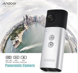Wholesale Dual Ccd Camera - Andoer A360I Handheld 360° Panoramic WiFi VR Video Camera Action Sports Cam Dual 200° Spherical Lens 1920 * 960 Full HD M358