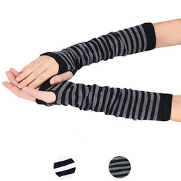 Wholesale Long Fingerless Gloves Girls - Wholesale- 1Pair Women Girls Fashion Winter Striped Wrist Arm Hand Warmer Knitted Long Fingerless Gloves Mitten Free Shipping&Wholesale