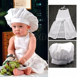 Wholesale Hat Cooks - Wholesale- Cute White Baby Cook Costume Photos Photography Prop Newborn Infant Hat Apron