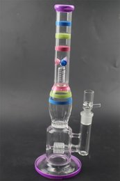 """Wholesale Shape Porcelain - Colorful Glass Bong 14.1"""" inch Tall 18.8mm Joint Size Straight Type Shape Water Pipes Porcelain Glass Bubbler Bongs for Smoking GB-371"""
