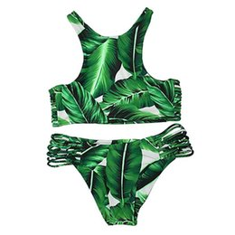 Wholesale High Waisted Two Piece Swimsuits - Wowforu Women's Sexy Two-piece Printed Forest High-waisted Bikini Forest Swimsuit Beachwear Swimwear