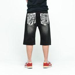 Wholesale Black Jeans Men Bootcut - Wholesale- Relaxed Fit Baggy Denim Shorts Back Letters Printed Hiphop Black Jeans 2017 Mens Skateboard Streetwear