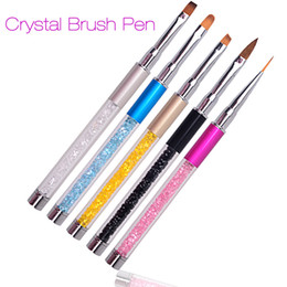 Wholesale Wholesale Nail Liquid - Nail Art Brush Pen Rhinestone Diamond Metal Acrylic Handle Carving Powder Gel Liquid Salon Liner Nail Brush With Cap