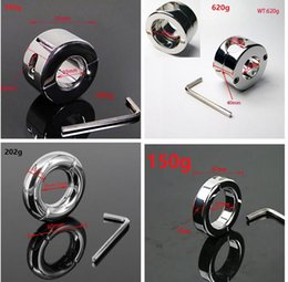 Wholesale Cbt Scrotum - Extreme Stainless Steel Solid BALL Stretcher 6 7 22 35 oz Scrotum Testicle Stretched CBT Bondage Gear Ball Weights CBT Toy For Male C567