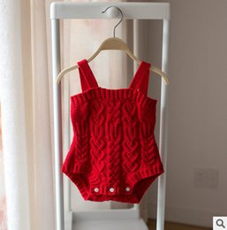 Wholesale Sweater Jumpsuits - Babies romper baby boys girls knitting suspender romper spring autumn new toddler kids sweater jumpsuits children all-match clothes T2835