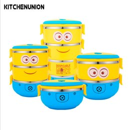 Wholesale Stainless Steel Storage Boxes - Cartoon Minions Thermal Bento Box For Food Stainless Steel Insulation Storage Food Container Dinnerware Set U0743