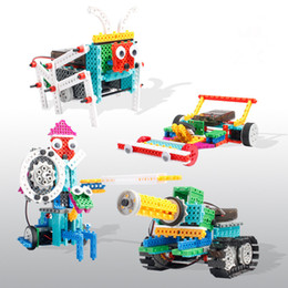 Wholesale Pc Intelligence - 237 PCS Radio Control Vehicles Toy 4 IN 1 Tank robot Electric Building Blocks Kids Intelligence Disassemble Assembly Children Toys Sets