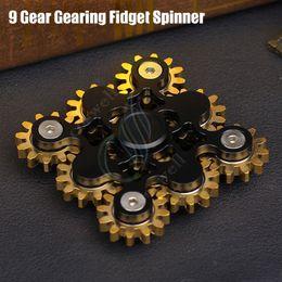 Wholesale Tips Wheel - Original 9Gear Gearing Fidget Spinner Steampunk machine wheels Brass hand Spinners Top CNC EDC Finger Tip Stainless novelty Rollver Toy