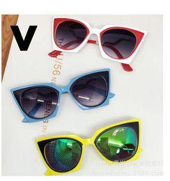Wholesale Eye Glasses Temple - 10pcs 2016 New children baby sunglasses Cat eye T Temple design mirror retro Kids Sunglasses 100% UV Protection Sun Glasses 5206