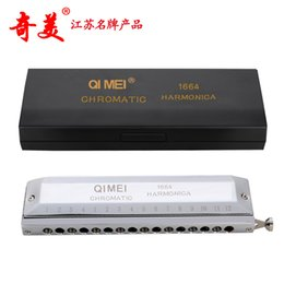 Wholesale Harmonica 16 - Wholesale-New Supply Chi Mei Card 16 Hole 64 Sound Chromatic Harmonica Silver Harmonica 10 Holes Key of C Musical Instrument Harmonica