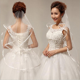 Wholesale Cheap Birdcages - Simple Short Wedding Bridal Veils With Lace Edge One layer Veil Garden Wedding Accessory Spring Cheap Free Shipping In Stock White