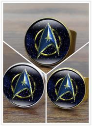 2019 star trek ringe Hot! 10 stücke 3 Farbe Glas Cabochon Star Trek Ring Vintage Bronze Kupfer Ringe für Frauen Schmuck Einstellbar rabatt star trek ringe