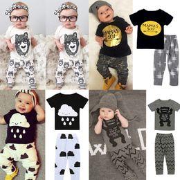 Wholesale Childrens Cotton Leggings - Boys Ins Fashion 2 Pieces Letter T Shirts Childrens Clothing Outfits Printed Short Sleeve T-shirt +Pants 2pcs Leggings Set Clothing Suits