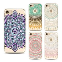 Wholesale Iphone Floral Cases - For iPhone 7 6s 6 Plus 5s 5 Case Clear Soft TPU Cover Totems Floral Mandara Pattern Case Bohemia Phone Shell