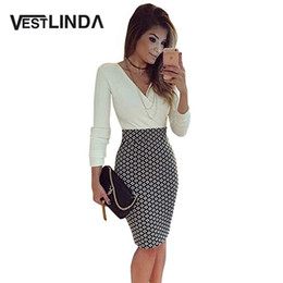 Wholesale Long Pencil Formal - Wholesale- Sexy V Neck Long Sleeve Black and White Dress Pencil Women Formal Dresses for Work Party Women Tunic Midi Bodycon Office Dress