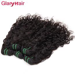 Wholesale Cheap Brazilian Water Wave Hair - Popular Glary Hair Bundles Wholesale Natural Wave Cheap Remy Human Hair Extensions Brazilian Water Wave Weave Peruvian Malaysian Virgin Hair
