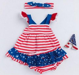 Wholesale Swing Dress Bloomers Set - summer 4th of july baby girls boutique sets independence day childrens clothing kid fourth of july swing dress headband ruffle bloomers 3pcs